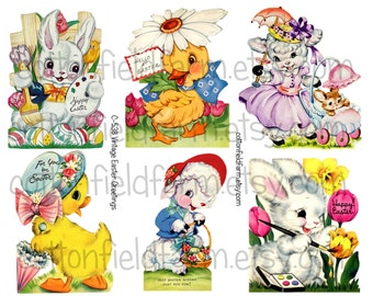 Retro Easter Greetings Digital Collage Sheet C-538 for Tags, Stickers, Scrapbooking, Journaling Spots, Cardmaking, Commercial Use
