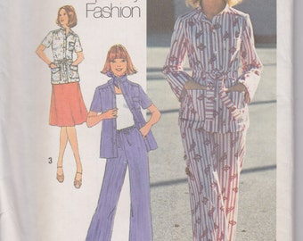 Simplicity 7473 Misses' Shirt, Jacket, Pants and Skirt Size 14 Vintage UNCUT Pattern Rare and OOP