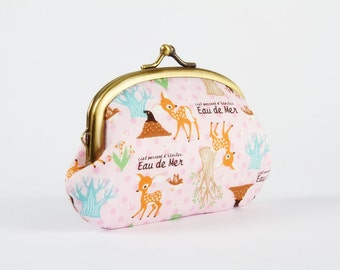 Metal frame coin purse - Eau de mer Deer on pink - Big smile / Japanese fabric / Lovely Bambi and moles / green teal brown / pink dots
