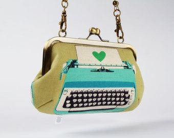 Metal frame handbag with shoulder strap - Retro typewriters in sage and turquoise - Party purse / Modern office / blue kelly green
