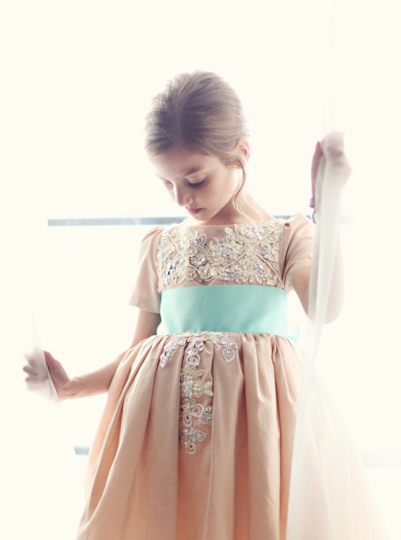 Fancy MuuMuu- Custom Flower Girl Dress Example (Seen here in Blush with Turquoise Sash)