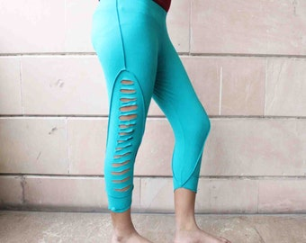 Turquoise Blue Color Cut Out Leggings Medium Size Casual Wear Comfortable Fit boho Style