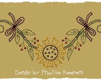 Primitive Machine Embroidery Design-Sunflower Garland--Version 2--(5X7)-INSTANT DOWNLOAD