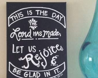 SALE--Psalm 118:24 Bible Verse Canvas--Hand-lettered Chalkboard Art