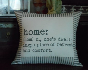Word Decorative Pillow, Home Definition Pillow with Black and Off White Ticking Stripe, Home DefinitionThrow Pillow Cover