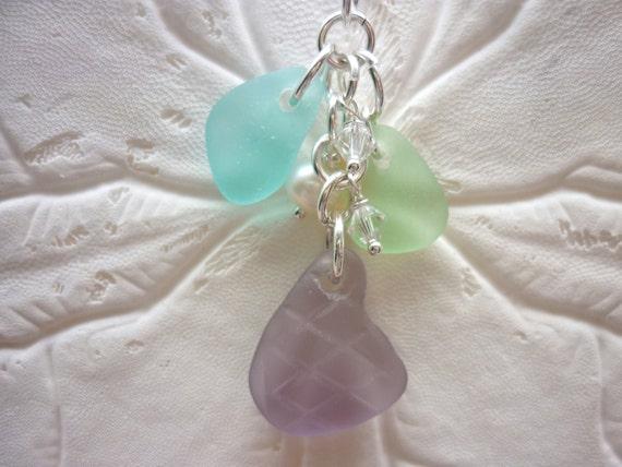 Rare Sea Glass Necklace Pendant Purple Beach Seaglass
