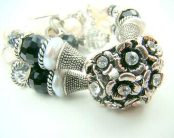 Double strand pearl bracelet, black crystal chunky pearl bracelet, black and white bracelet, silver flower pendant