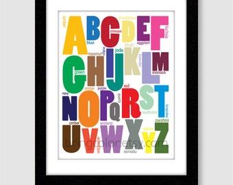 Alphabet Colors Wall Art Print 11X14 for nursery or kids room