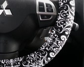 Steering Wheel Cover Black and White Boroque Damask Car Accessory