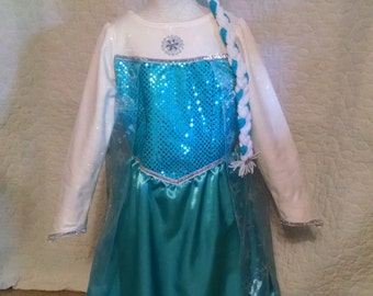 Elsa Snow Queen, 5 piece costume - dress, train, crown, wand and hair braid,  inspired from Disney Frozen, size 6/7
