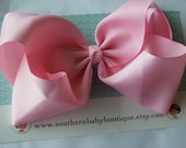 SUMMER SALE---School Cheer Bow X X-Large 7 Inch Hair Bow----Light Pink-----Ready to Ship---