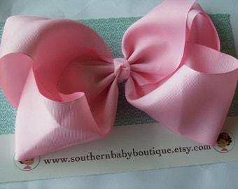 NEW ITEM---School Cheer Pony O Bow XX-Large 7 Inch Hair Bow---Light Pink---Ready to Ship