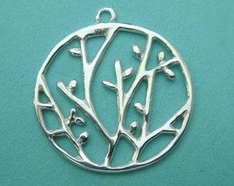 Sterling Silver Branch Pendant, 925 Outline Nature Charm Pendants, 1 PC, 20 x20 mm