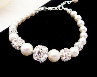 Crystal  bridal bracelet, Pearl wedding bracelet, Bridal jewelry, Pearl bracelet, Swarovski crystal bracelet, Tennis bracelet, Bridesmaid