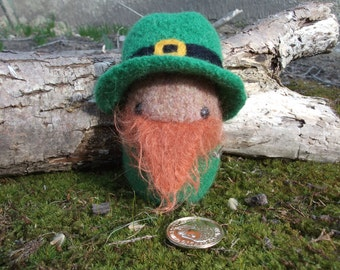 Leprechaun plush toy, leprechaun doll, hand knit and felted stuffed leprechaun, amigurumi  leprechaun toy, made to order
