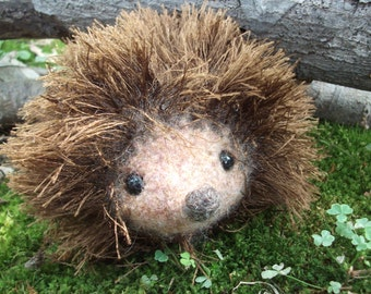 Hedgehog plush toy, hand knit and felted hedgehog stuffed animal, stuffed hedgehog toy, made to order