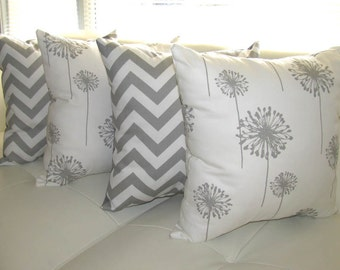 Dandelion Storm Gray and Zig Zag Storm Gray Throw Pillow - 4 Pack - Free Shipping