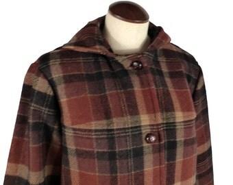 Pendleton Plaid Coat Vintage 1970s Wool Jacket Hooded Women's Brown and Black S