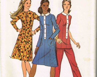Dress Tunic and Pants Trim Band Vintage 1970s Misses Simplicity 9605 Sewing Pattern Size 14 Bust 36