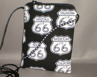 Wallet on a String - Sling Bag - Small Mini Bag Purse - Zipper Pouch - Route 66