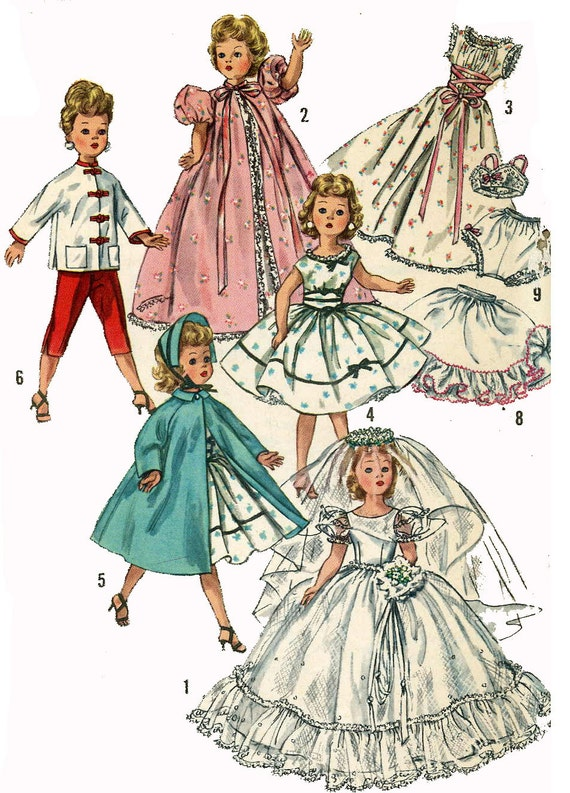 Old 1950s Wedding Dress Pattern Doll Clothes Pattern 1808 For