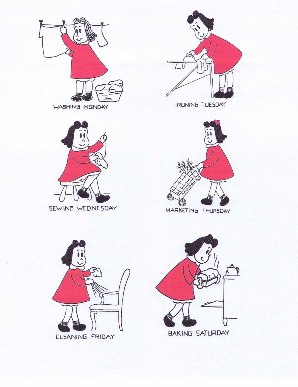 hand embroidery pattern 1488 little lulu comic book for