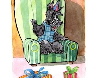 Scottie in an armchair original watercolour