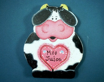Country Cow Hand Painted Wood x021