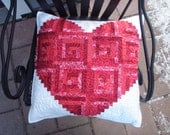 Heart Handmade Quilted Pillow Cover Red and White Log Cabin