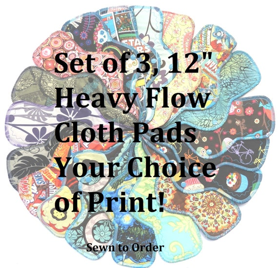 Set of 3 Heavy Flow Pads-You Choose Your Print!