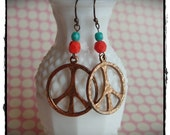 Reworked Vintage Peace Sign Earrings