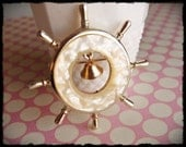 Pearl Moonglow Lucite Captain's Wheel Nautical Brooch