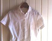 vintage blouse white cotton sheer pretty detail - small