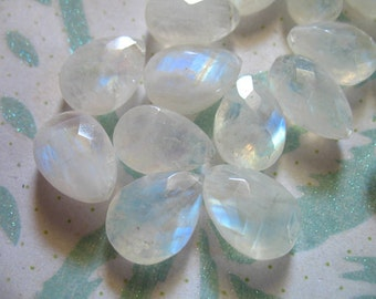Shop Sale.. 1 pc, 12-13 mm, MOONSTONE Pear Briolettes Beads, Luxe AAA, Faceted, blue flashes, ...