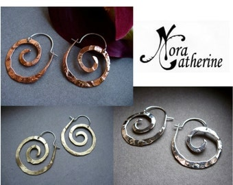 Mini Pound Nautilus Hoops in Coppe, Bronze or Sterling - E025-XS