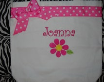Flower Girl Tote Bag Personalized with Name, Flower and ribbon and bow Embroidered You choose the colors. Adorable