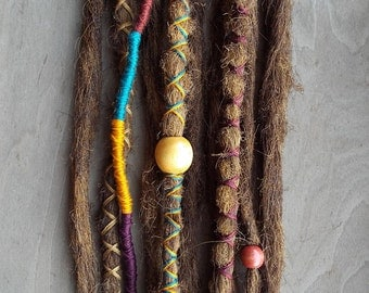 10 Custom Standard *Clip-in or Braid-in Synthetic Dreadlock Extensions Boho Dreads Hair Wraps & Beads