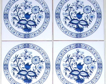"Blue Onion Ceramic Tile Set of 4 of 4.25"" x 4.25"" White Ceramic Tile Kiln Fired with Vintage Blue Onion."