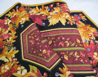 Quilted  table runner Fall colored leaves