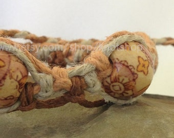 Hemp Macrame Bracelet, Anklet or Choker - Natural and Shades of Brown - Beaded - Adjustable - 6 to 14 Inches - Harvest - Hemp Jewelry