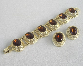Vintage Chunky Topaz Rhinestone Bracelet Clip Earrings Gold