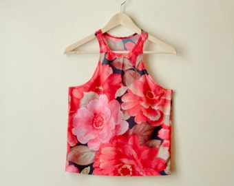 50% Off Sample Sale Red Flower Racer Back Tank, Floral Top with Roses