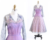 vintage 1950s dress / 50s dress / Blue and Lavender Silk Chiffon and Lace Party Dress