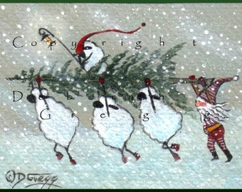 Christmas Spirit In A Snow Storm a Tiny Sheep Christmas Tree, Blizzard Elf Print by Debirah Gregg