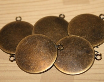 Double-loop Brass Pendant Settings 25 mm Round (8)