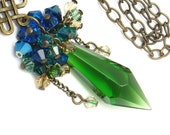 Peacock Green Necklace, Swarovski Elements, Antique Golden Brass, Green Blue Wrapped Pendant
