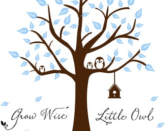 Tree Wall Decal - Wall Decal Nursery - Wise Little Owl Tree Decal - Nursery Wall Decal - Tree Decal - Owl Decal - Vinyl Wall  Decal