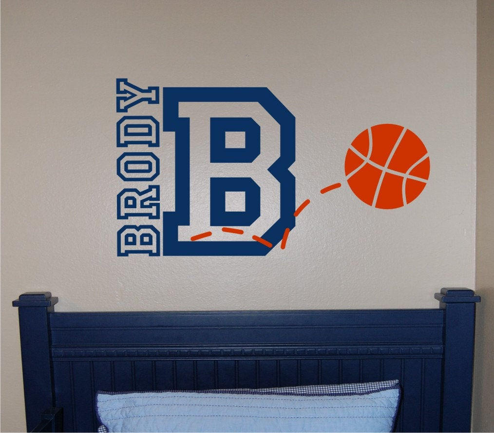 Basketball name initial wall decal basketball wall decal for Basketball wall decals