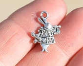 BULK 50 Silver Alice in Wonderland Rabbit 20mm Charms SC1721