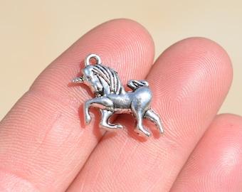 BULK 20 Silver Unicorn Charms SC1149